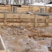 Заливка фундамента бани из клееного бруса в Богородском районе